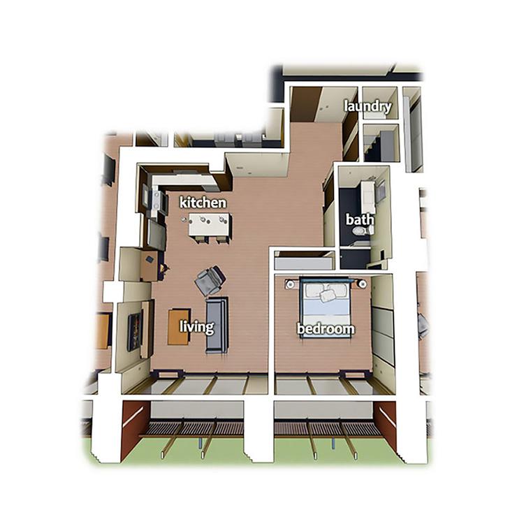 layout diagram of 1 Bedroom 1 Bath apartment