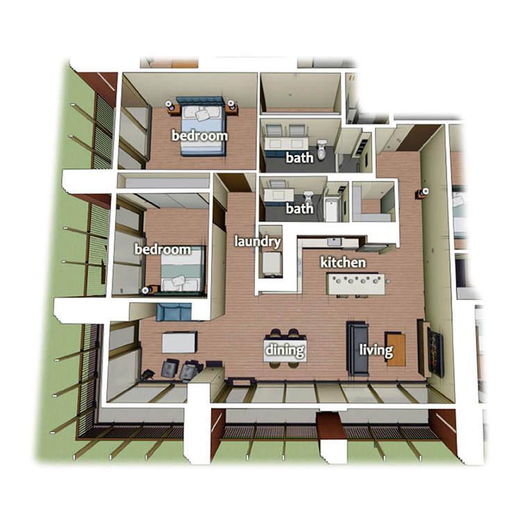 layout diagram of 2 Bedroom 2 Bath apartment on the Corner of building