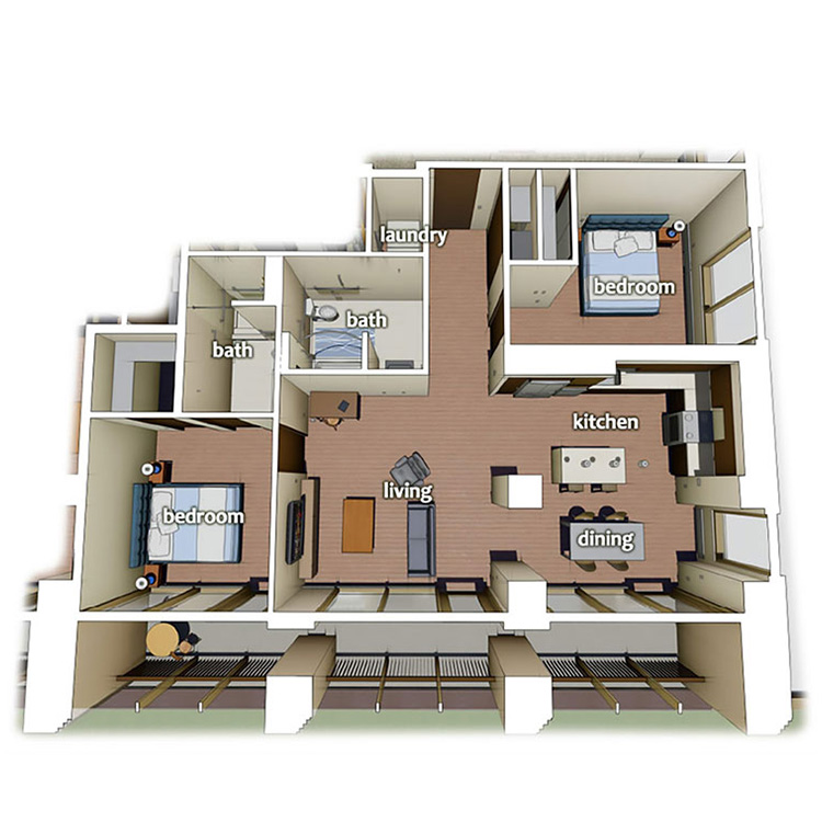 two bed two bath apartment layout