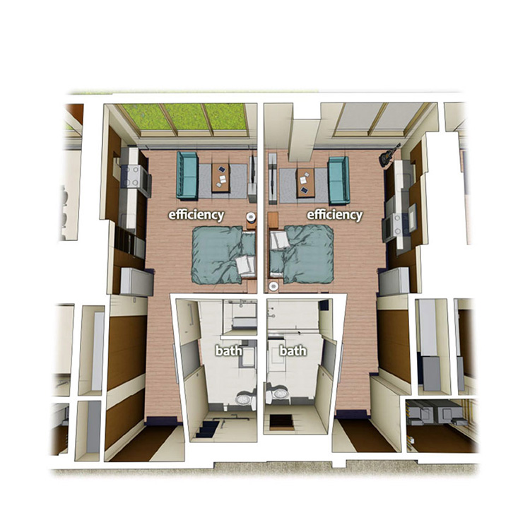 layout diagram of efficiency apartment
