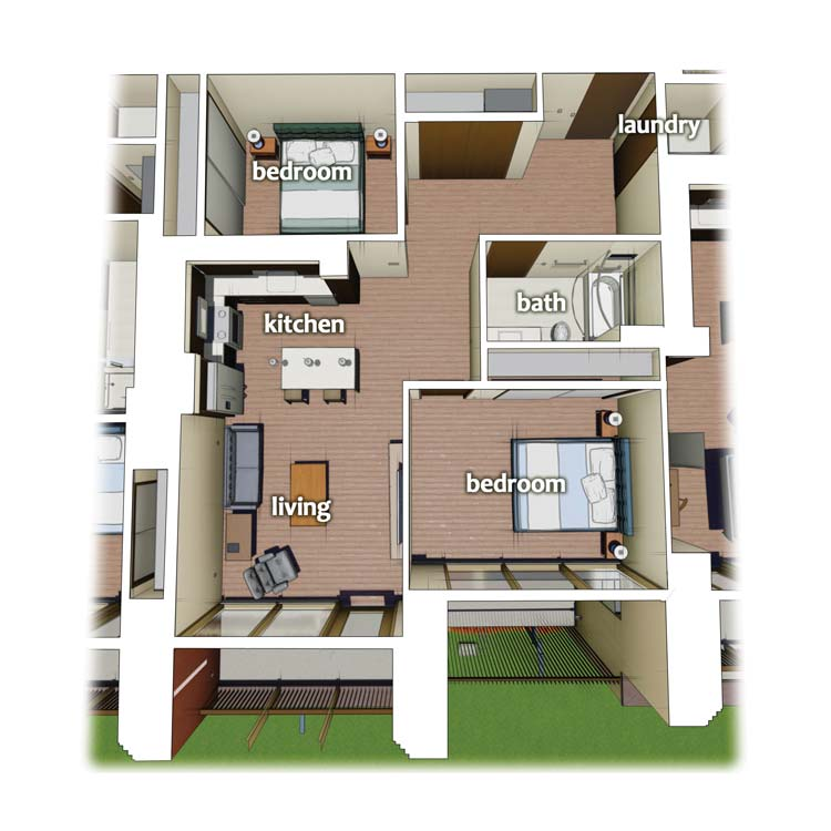 layout diagram of 2 Bedroom 1 Bath apartment on the side of building
