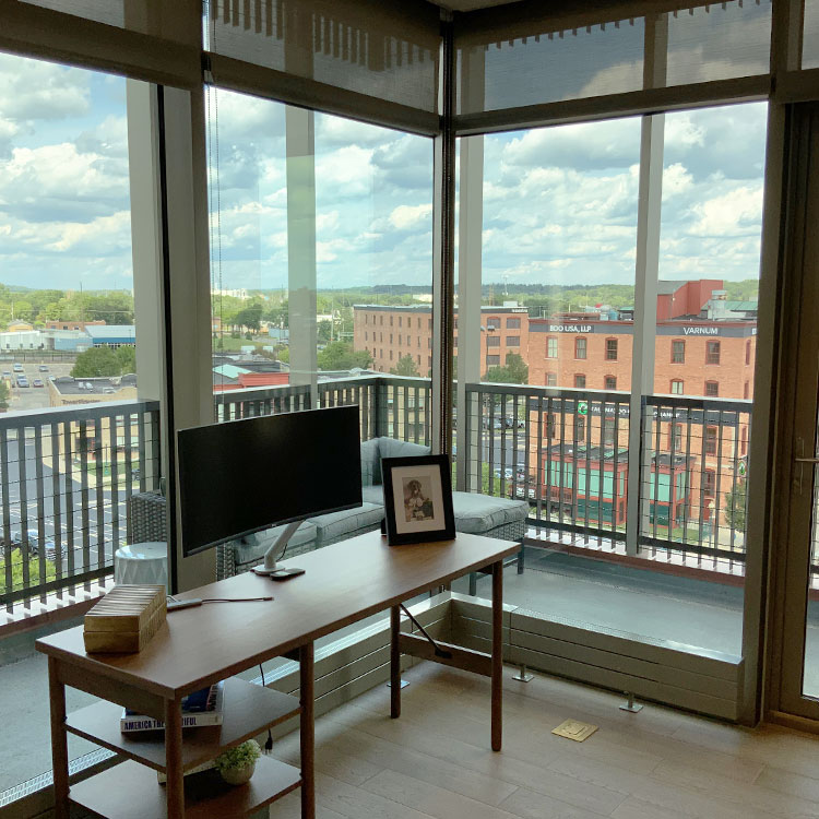 View of the private balcony at 180 East Water Street